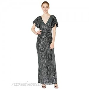 Marina Sequin Side Drape Gown with Flutter Sleeve
