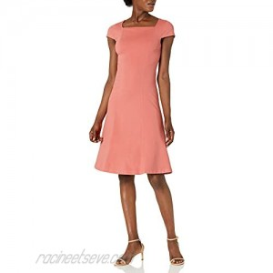 Brand - Lark & Ro Women's Cap Sleeve Square Neck Seamed Fit and Flare Dress