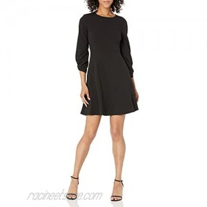 Brand - Lark & Ro Women's Gathered 3/4 Sleeve Crew Neck Fit and Flare Dress with Pockets