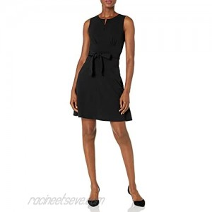 Lark & Ro Women's Sleeveless Crew Neck Belted A-Line Dress with Pockets