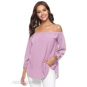 Abollria Women Sexy Off Shoulder Tops 3/4 Sleeve Tie Cuff Casual Blouse Shirts