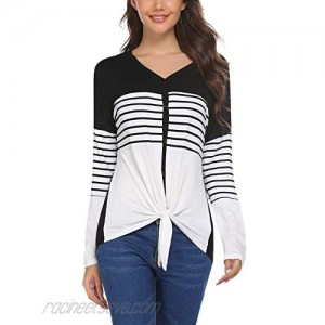 Alishebuy Women's Striped Color Block Button Blouse Shirts Long Sleeve V-Neck Tie Knot Loose Casual Tunic Tops