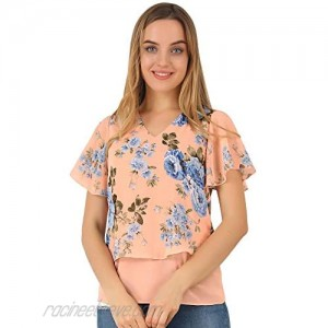 Allegra K Women's Overlay Layered Poncho Chiffon Floral Blouse Top