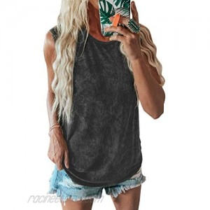 ROSKIKI Women's Casual Summer Solid Color Tanks Tops Crew Neck Sleeveless Loose Fit Tank Blouse Tee Shirts
