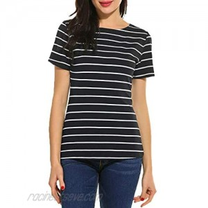 SimpleFun Women's Summer Short Sleeve Striped Tops Blouse Casual Tees T Shirts