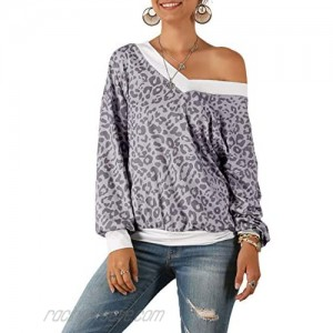 Womens Casual Fall Shirts Color Block Loose Fit Long Sleeve Tunic Tops Blouses