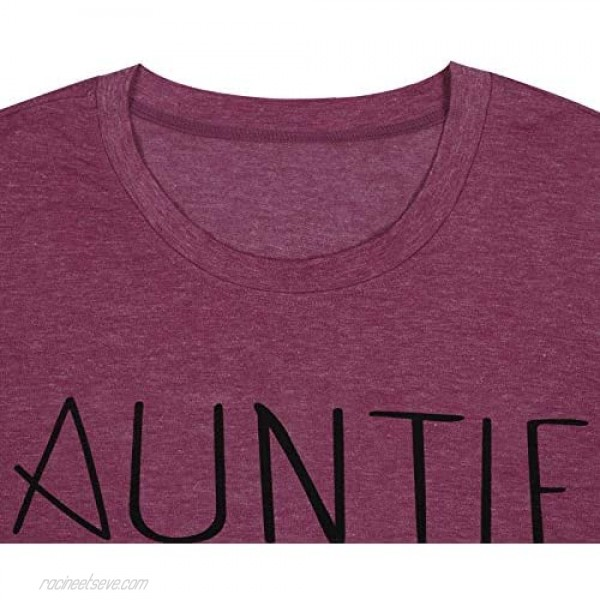 Auntie Bear Print T-Shirt Women Letters Print V-Neck Shirt Tee Mothers Day Aunt Tee Tops
