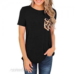 Beopjesk Women's Casual Short Sleeves Round Neck T Shirt Casual Basic Tops with Leopard Pocket