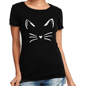 Cat Shirts for Women Cute Face Ears Whiskers Lazy Tshirt No You Do It Funny Christmas