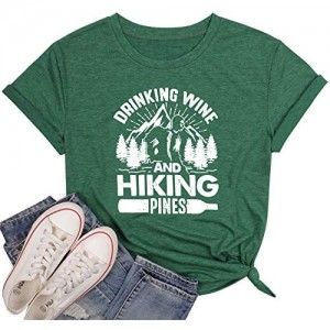 Drinking Wine ShirtWomens Funny Moutain Graphic TeeHiking Pines tee Alcohol Tops Casual Short Sleeve Graphic Tee Tops
