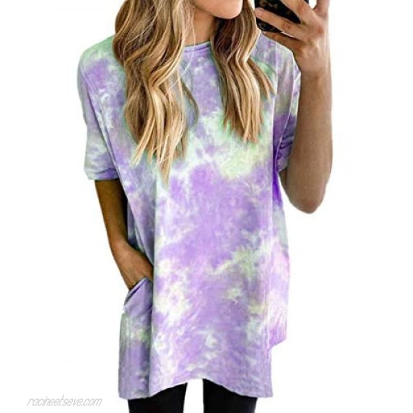 ECOWISH Womens T Shirt Summer Tie Dye Printed Long Tee Shirts Casual Loose Fit Short Sleeve Blouses Tunic Tops with Pockets
