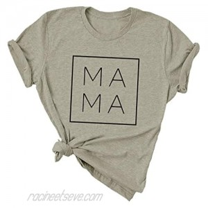 Mama Letter Print T Shirt Mother's Day Mom Gift Tee Tops for Women Mom Life Short Sleeve Shirts Blessed Mom T-Shirt