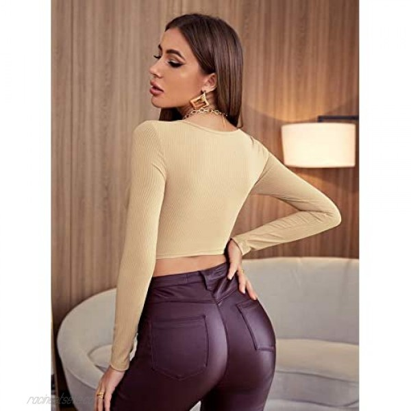 Milumia Women's Ribbed Knit Long Sleeve Crop Tee Ruched Bust Scoop Neck Plain Tops