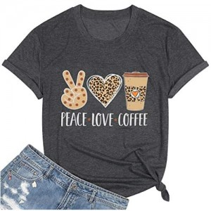 MOUSYA Peace Love Coffee T-Shirt Women Letter Printed Gesture Heart Graphic Coffee Cup Round Neck Short Sleeve Tops