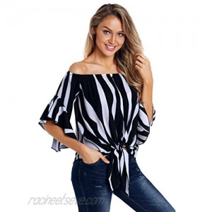 Ouregrace Women Striped Off Shoulder Bell Sleeve Shirt Tie Knot Front Tops Blouses