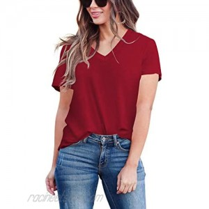 Peokia Womens Casual V Neck Basic T Shirts Short Sleeve Solid Color Blouses Summer Tops