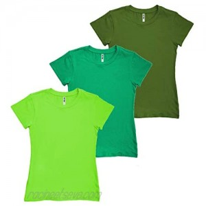 Phat Doc Women's Basic Solid Crew-Neck Casual Tee Short Sleeve T-Shirt (3 Pack)