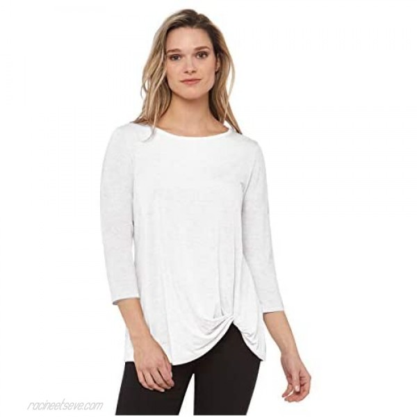 Rekucci Women's Super Soft Knit Top with Knot Detail and Sleeves