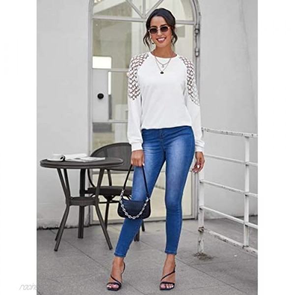 Romwe Women's Contrast Lace Long Sleeve Tee Crewneck Casual Pullover Tops Shirts
