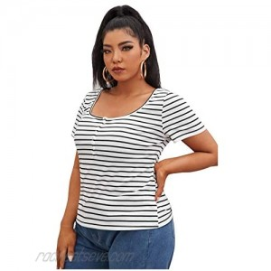 Romwe Women's Ribbed Striped Short Sleeve Button Up Scoop Neck Henly Shirts Tee Tops