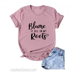 SLEITY Blame It All On My Roots Shirts Women Vintage Country Music Graphic Tops