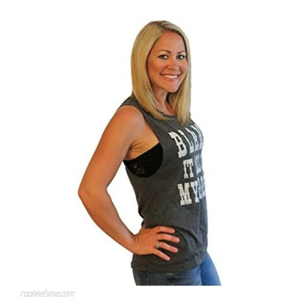 Tough Little Lady Graphic tee for Women Blame it All on My Roots Muscle B/W