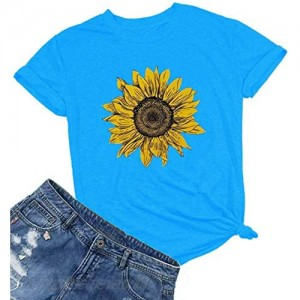 Vatolily Women's Sunflower Shirts Graphic Tees Short Sleeve Funny Printed T-Shirt Cute Summer Casual Tops