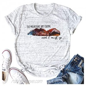 VILOVE Mountain Hiking Shirts The Mountains are Calling and I Must Go Letter Print Short Sleeve Tee Tops