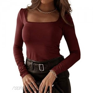 Womens Square Neck Long Sleeve Shirts Vintage Fitted Plain Tunic Tops Blouses