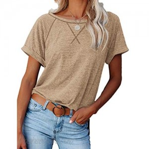 Womens T Shirts Short Sleeve Crew Neck Casual Tops Basic Plain Blouse Loose Fitting Workout Tops