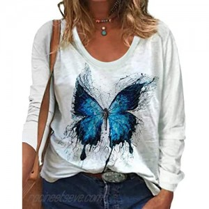 zeyubird Womens Long Sleeve Shirts for Women Butterfly Printed Graphic Tees Casual Pullover Tee T Shirts Tops