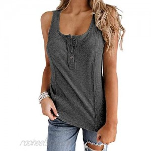 AMAOKYTOP Womens Casual Workout Tank Tops Button Up Scoop Neck Summer Sleeveless Ribbed Henley Shirts…