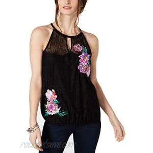 INC International Concepts Lace Embroidered Halter Top (Deep Black XS)