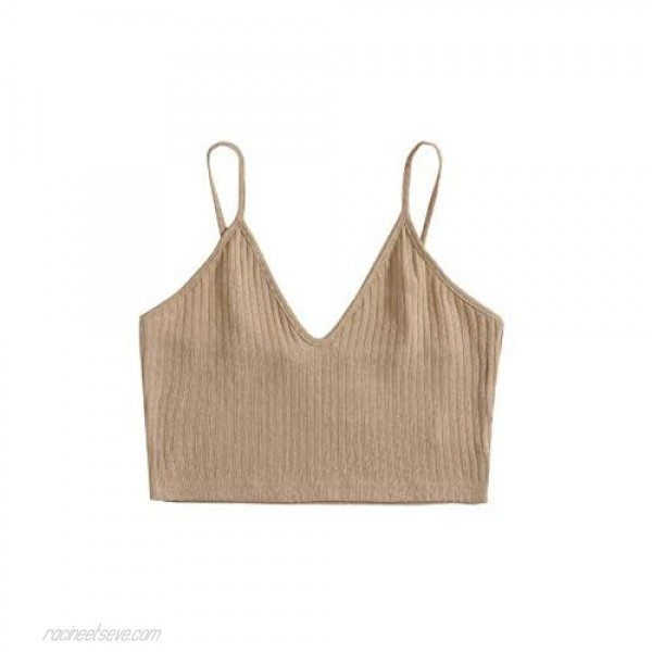 SheIn Women's Sleeveless V Neck Camisole Ribbed Knit Slim Fit Solid Crop Cami Top