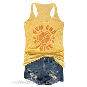 Women Gym and Juice Tank Top Funny Words Cute Vintage Orange Pattern Sleeveless T Shirt Summer Casual Yoga Workout Vest Camis