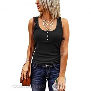 Women's Neck Ribbed Button Tank Tops Sleeveless Shirts Tops Spring Summer Solid Knitted Ribbed Casual Top for Girls