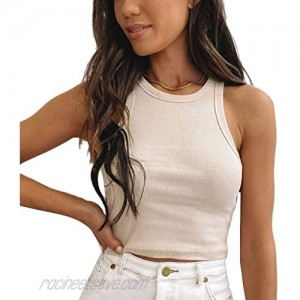 Womens Sexy Sleeveless Stretch Crop Tank Top Solid Round Neck Knit Ribbed Tops Cotton Basic Vest